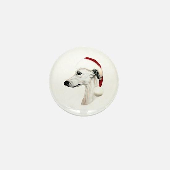 White Whippet Santa Mini Button