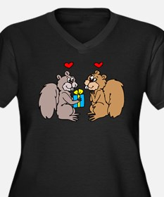 Squirrels In Love Women's Plus Size V-Neck Dark T-