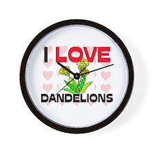 I Love Dandelions Wall Clock
