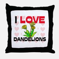 I Love Dandelions Throw Pillow