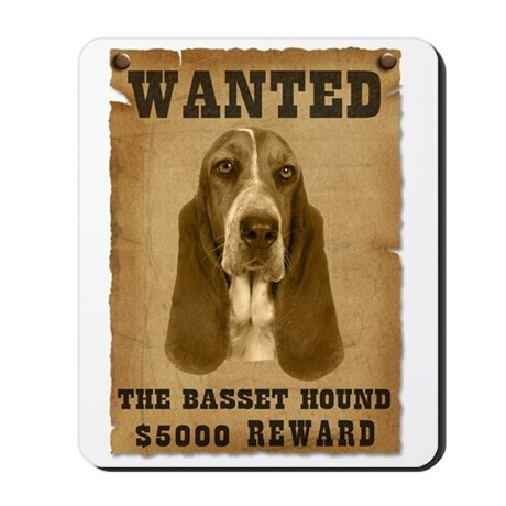 """Wanted"" Basset Hound Mousepad"