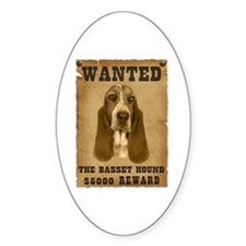 """""""Wanted"""" Basset Hound Oval Decal"""