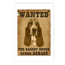 """""""Wanted"""" Basset Hound Postcards (Package of 8)"""