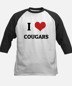 I Love Cougars Kids Baseball Jersey