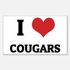 I Love Cougars Rectangle Decal