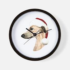 Fawn Whippet Santa Wall Clock