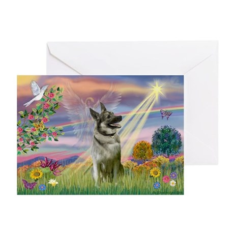 Cloud Angel Elkhound Greeting Cards (Pk of 10)