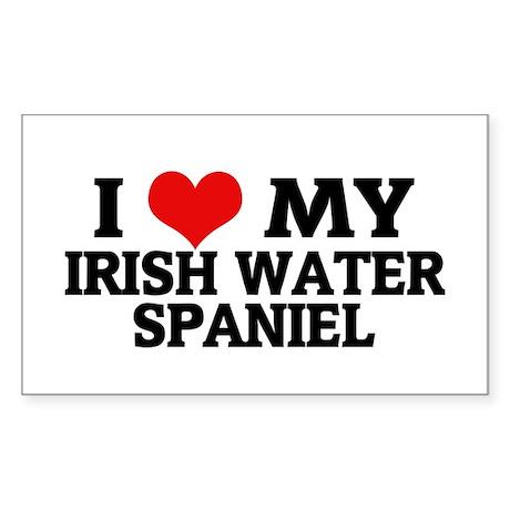 I Love My Irish Water Spaniel Sticker (Rectangular