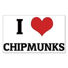 I Love Chipmunks Rectangle Decal