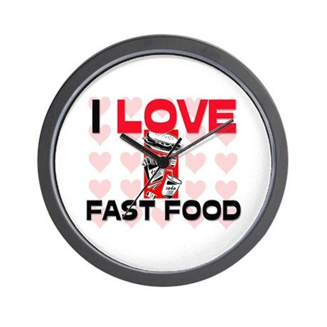 I Love Fast Food Wall Clock