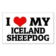 I Love My Iceland Sheepdog Rectangle Decal
