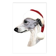 Blue & White Whippet Santa Postcards (Package of 8