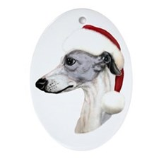Blue & White Whippet Santa Oval Ornament