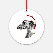 Black Whippet Santa Ornament (Round)