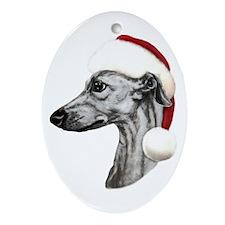 Black Whippet Santa Oval Ornament