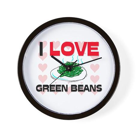 I Love Green Beans Wall Clock
