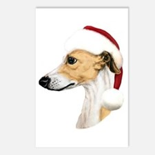 Tan & White Whippet Santa Postcards (Package of 8)