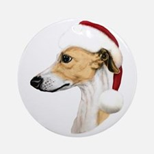 Tan & White Whippet Santa Ornament (Round)