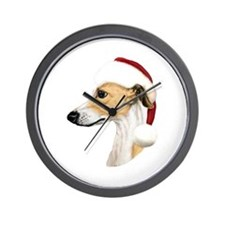 Tan & White Whippet Santa Wall Clock
