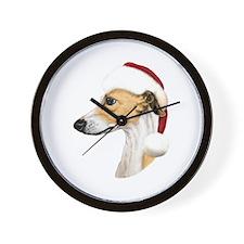 Tan & White Whippet Santa Wall Clock