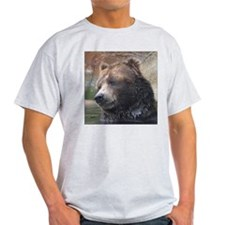 Grizzly Bear Cute Face Ash Grey T-Shirt