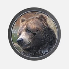 Grizzly Bear Cute Face Wall Clock