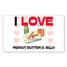 I Love Peanut Butter & Jelly Rectangle Decal