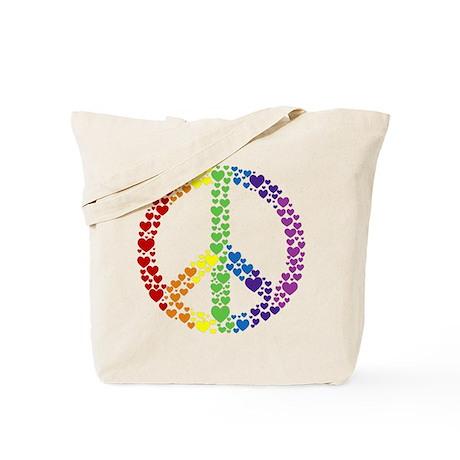 Rainbow Hearts Peace Tote Bag