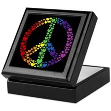 Rainbow Hearts Peace Keepsake Box