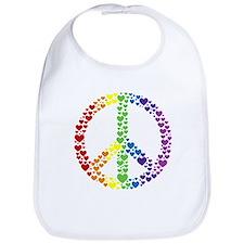 Rainbow Hearts Peace Bib