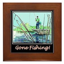 Gone Fishing 2 Framed Tile