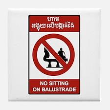 No Sitting on Balustrade, Cambodia Tile Coaster
