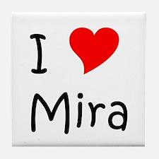 Cute I love mira Tile Coaster
