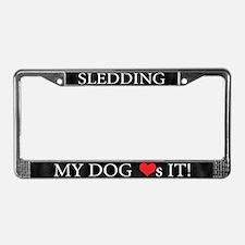 My Dog Loves Sledding License Plate Frame