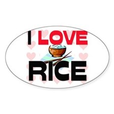 I Love Rice Oval Decal