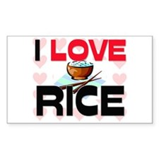 I Love Rice Rectangle Decal