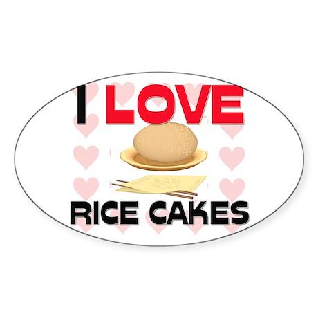 I Love Rice Oval Sticker