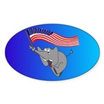 Republican Elephant Oval Sticker (10 pk)