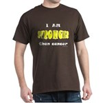 Stronger Than Cancer (yellow) Dark T-Shirt