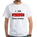 Stronger Than Cancer (red) White T-Shirt