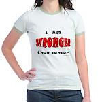 Stronger Than Cancer (red) Jr. Ringer T-Shirt