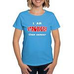 Stronger Than Cancer (red) Women's Dark T-Shirt