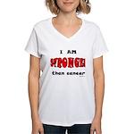 Stronger Than Cancer (red) Women's V-Neck T-Shirt