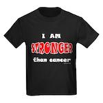 Stronger Than Cancer (red) Kids Dark T-Shirt