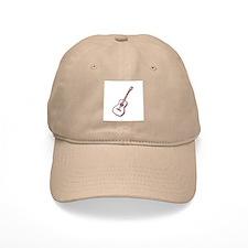 Woodcut Brown Guitar Baseball Cap