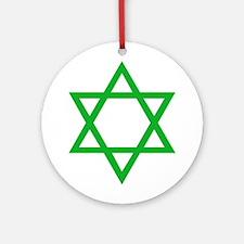 Green Star of David Ornament (Round)