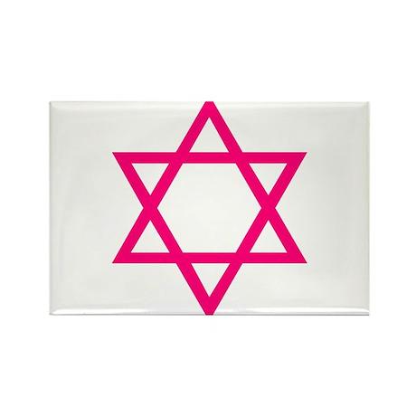 Pink Star of David Rectangle Magnet