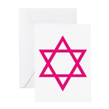 Pink Star of David Greeting Card