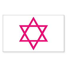 Pink Star of David Rectangle Decal