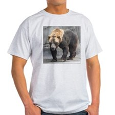 Grizzly Bear Walking Ash Grey T-Shirt